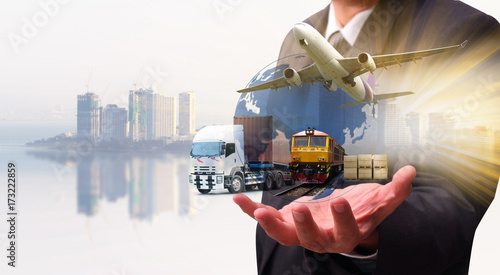 Fotografie, Obraz  business of worldwide cargo transport or global business commerce concept or imp