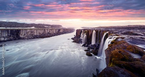 Garden Poster Dark grey Famous Selfoss waterfall