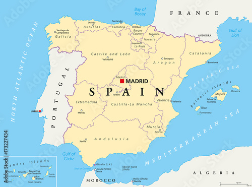 Map Of Spain Labeled.Spain Administrative Divisions Political Map Autonomous