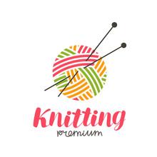 Knitting Logo Or Label. Needle...