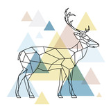 Silhouette of a geometric deer standing on the side. Scandinavian style. Vector illustration. - 173233010