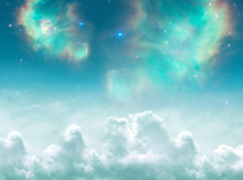 Angelic, Divine, Spiritual, Mystical, Magic Background With Clouds, Stars And Galaxy In Green Tonality