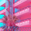 Leinwanddruck Bild - Minimal Urban Pink. tropical palm trees. Art fashion