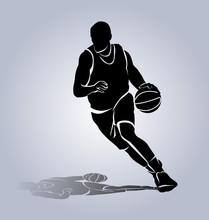 Vector Silhouette Basketball P...