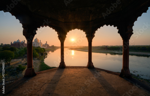 Taj Mahal at sunset, India
