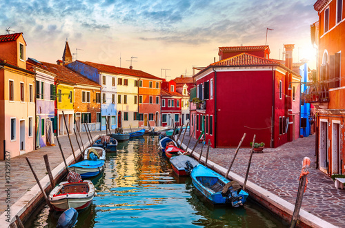 Burano island in Venice Italy picturesque sunset over canal Wallpaper Mural