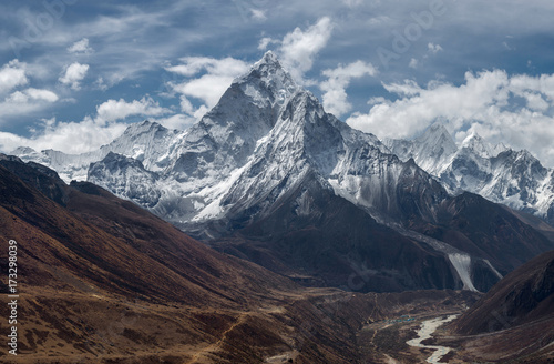 View of Ama Dablam over Solukhumbu valley, Himalayas Nepal Canvas Print