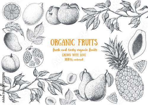 ramka-z-owocow-z-napisem-w-srodku-szkicowane-owoce