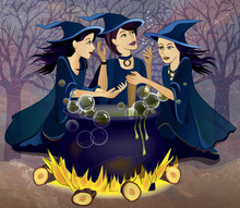 Three Witches At A Cauldron