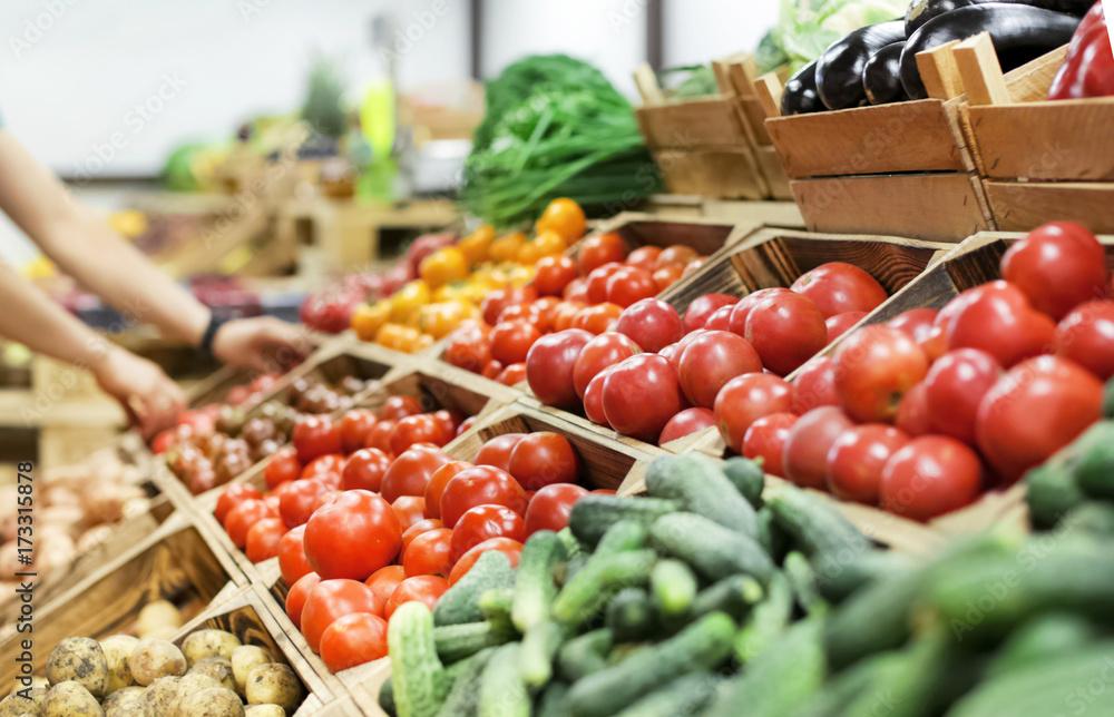 Fototapety, obrazy: Assortment of fresh vegetables at market