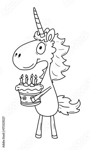 Ausmalbild Einhorn Geburtstag Buy This Stock Illustration And