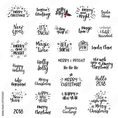 Autocollant pour porte Positive Typography Merry Christmas, Happy New Year 2018 Handwritten Set. Calligraphy. Isolated