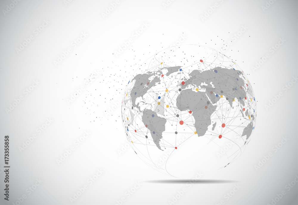 Fototapety, obrazy: Global network connection. World map point and line composition concept of global business. Vector Illustration