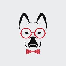 Vector Of Dog Wearing Glasses On White Background. Animal Fashion.