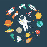 Fototapeta Space - Space objects. Astronaut, rocket, planets, UFO, satellite, etc