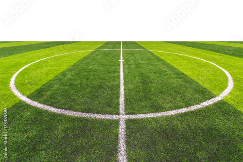 Bright and dark artificial green grass in outdoor football or futsal stadium Canvas Print