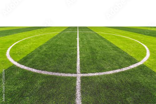 Photo Bright and dark artificial green grass in outdoor football or futsal stadium