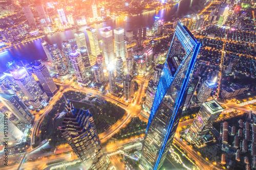 Foto op Aluminium Shanghai Aerial view of Lujiazui financial district at night in Shanghai,China