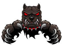 Angry Dog Mascot Cartoon. Vect...