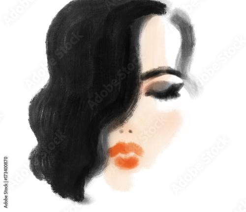 Poster Portrait Aquarelle Makeup. Fashion illustration. Beautiful woman face