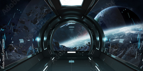 Spaceship interior with view on planets 3D rendering elements of this image furnished by NASA