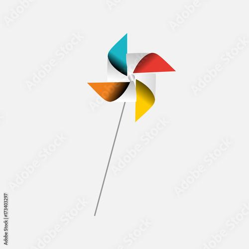 Valokuva Children's Pinwheel toy rotating in the wind.