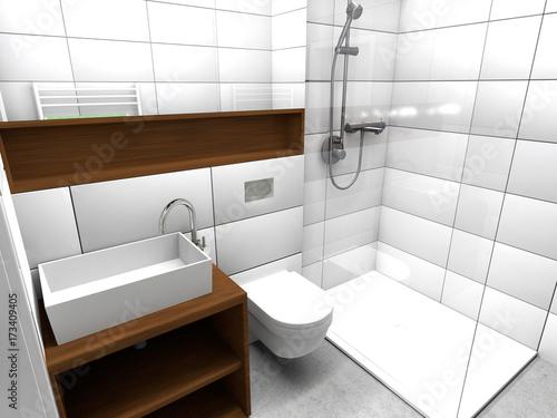 Fotografiet Kleines Modernes Badezimmer