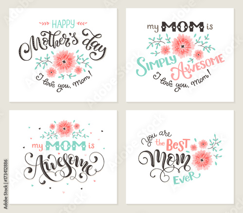 Happy mother day greeting card set my mom is awesome best mom ever happy mother day greeting card set my mom is awesome best mom ever m4hsunfo