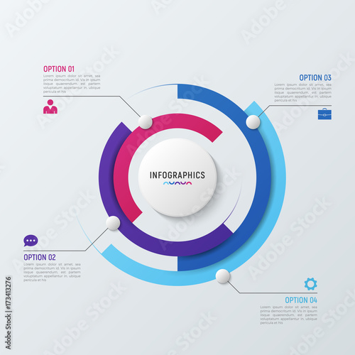 Photo  Vector circle chart infographic template for data visualization