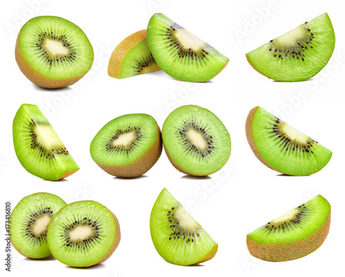 Obraz na plátně kiwi fruit isolated on white background