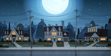 Houses Night View Suburb Of Big City, Cottage Real Estate Cute Town Concept Flat Vector Illustration