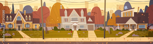 Cuadros en Lienzo Houses Suburb Of Big City In Autumn, Cottage Real Estate Cute Town Concept Flat