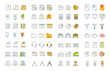 Set Vector Flat Line Icons Office Tools