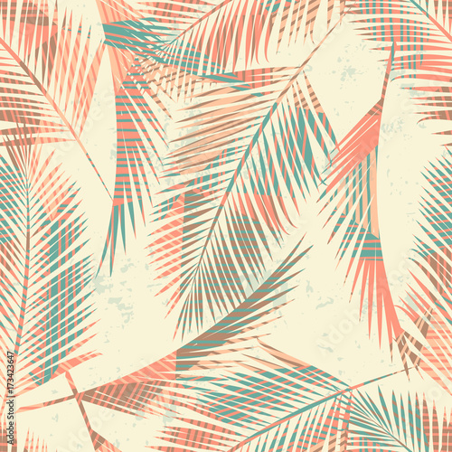 Poster Aquarel Natuur Seamless exotic pattern with tropical plants and geometric background.
