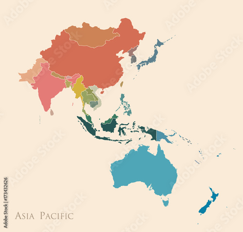 Map of Asia Pacific Wallpaper Mural