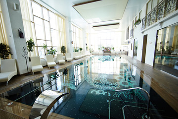 Background image of designer swimming pool interior  in luxury SPA center , no people