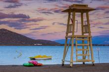 Lifeguard Tower At Sunset, Elo...