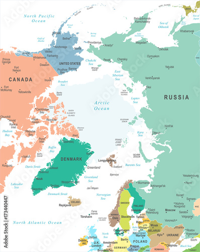 Photo Stands World Map Arctic Region Map - Vector Illustration