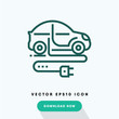 Electric car icon, ecologic symbol. Modern, simple flat vector illustration for web site or mobile app