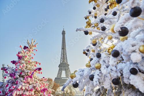 Choinka pokryta śniegiem w pobliżu Wieży Eiffla w Paryżu