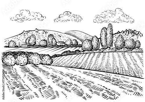 rural landscape handdrawn inked sketch style illustration hand
