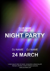 Night party poster template, Abstract blue pink background