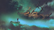 Leinwanddruck Bild - surreal scenery of the man on a boat in the outer space with clouds looking at derelict ship, digital art style, illustration painting