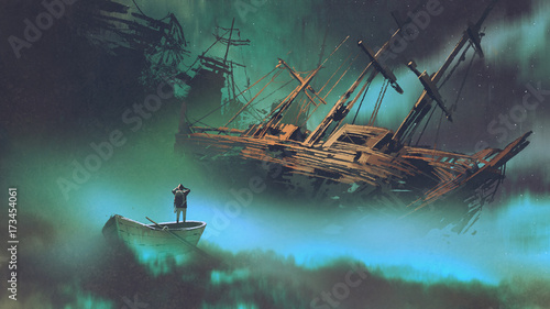 surreal scenery of the man on a boat in the outer space with clouds looking at d Wallpaper Mural