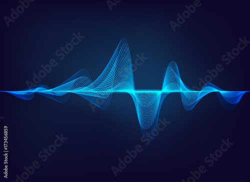 Staande foto Abstract wave abstract digital green blue equalizer, sound wave pattern element