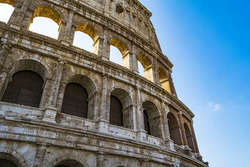 Fototapeta Do pizzerii Colosseum closeup view, the world known landmark of Rome, Italy.