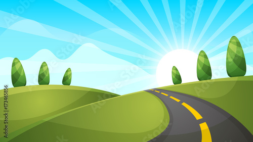 Tuinposter Pistache Cartoon landscape illustration. Sun. cloud hill Vector eps 10