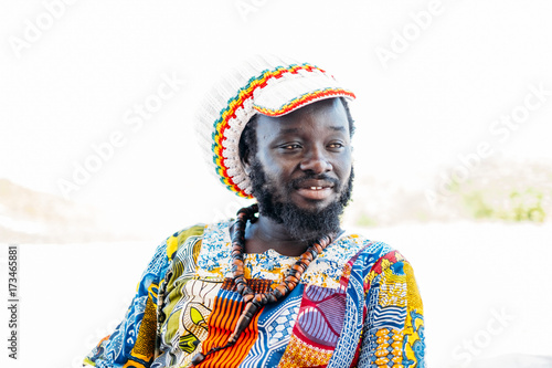 Black man in colorful clothing