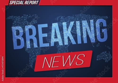 Illustration Of Breaking News Vector Banner On Bright Earth Glowing Globe Background TV Opener