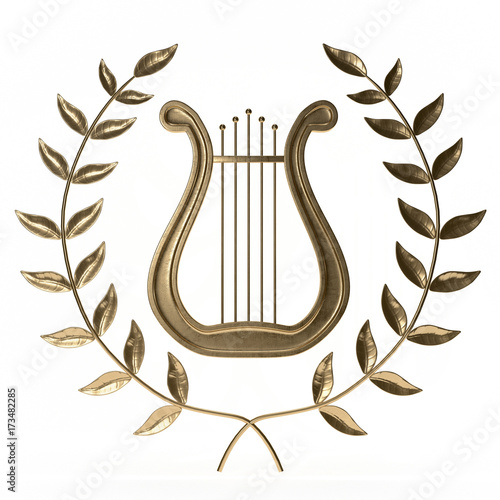 ancient lyre with wreath 3d rendering Wallpaper Mural